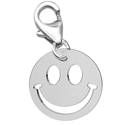 Charm Anhänger für Armbänder Bettelarmband + Geschenkbox Smiley Smilie Karabiner 925 Echt Silber Damen Sterlingsilber (K534o +V2)