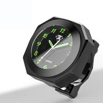 JenNiFer 7/8 Zoll 1 Zoll Motorrad Leucht Lenkerhalterung Uhr Uhr Aluminiumlegierung - Schwarz