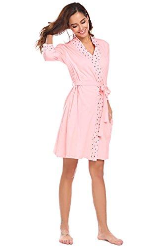 Meaneor_fashion_Origin Damen Morgenmantel Kurz Baumwolle kuschelig Bademantel V-Ausschnitt Mit Abnehmbarer Gurtel Kurz Schlafanzüg Nachtwäsche für Damen Rosa