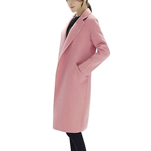 Resplend Damen Herbst Winter Jacke Mantel Lässige Strickjacke Angärmelige Mode Kragen Wollmantel Dünner Mantel Outwear (Rosa, XL)