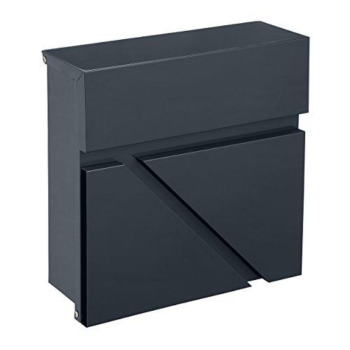 Mari Home Wandmontierter A4 Briefkasten | Größe L, Stahl, Für den Außenbereich | Briefkasten mit verschließbarer Tür und 2 Schlüssel | Dim. 32 x 32 x 10.5 cm | Obere Klappe | Grafit Grau