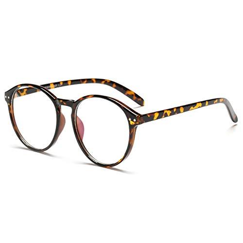 VEVESMUNDO Brillen ohne sehstärke Brillengestelle Brillenfassung Fakebrillen Streberbrille Nerdbrille Pantobrille Damen Herren Retro Rund Vintage Große mit Brillenetui (Schildpatt)