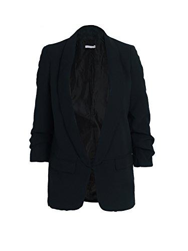 Simplee Apparel Damen Lang Blazer Elegant Langarm Revers Blazer Büro Jacke Suit Cardigan mit Rüschenhülse Schwarz (Elegant-blazer)