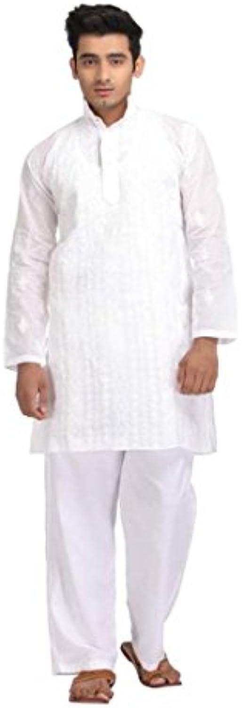Men's White Embroidered Full Sleeve Kurta