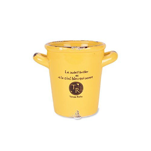 scrafts yellow ceramic/procelain artificial/original flower pot/planter/container with drainage hole for home décor/ garden décor/ hall décor/ table décor  available at amazon for Rs.225
