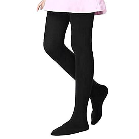 Collant Bébé Automne Hiver Super Chaud Collants en Coton Epais Legging Résistant Sans Couture Peau-serré Pieds Opaque Jambière Danse Yoga Bas Douce Confortable pour Enfants Filles 5-8 ans-Noir - 110-125CM