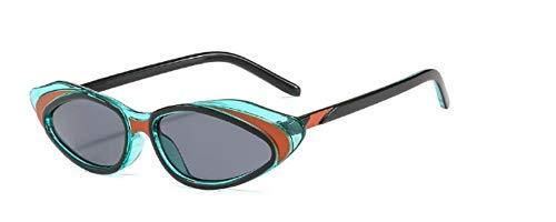 ZJMIYJ Sonnenbrillen Crystal Cat Eye Sonnenbrille Frauen Streifen Sonnenbrille Männer Frauen Brillen mit kleinem Rahmen grün