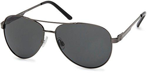 styleBREAKER polarisierte Sonnenbrille, Pilotenbrille mit Federscharnier, Etui und Putztuch, Unisex 09020046, Farbe:Gestell Anthrazit/Glas Grau