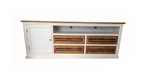 SAM® Lowboard IV Paris aus weiß lackiertem Paulowniaholz im Landhausstil, teilmassiv, 4 Schubkästen, 1 offenes Fach, 1 Holztür, viel Stauraum