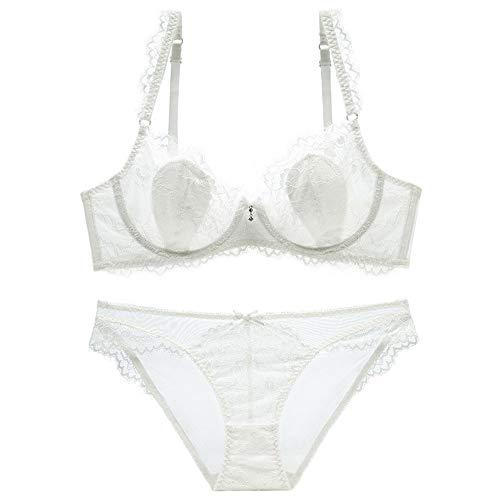 Hohe Qualität Damen Unterwäsche Set Push Up Sexy Dünne Spitze Anzug Sheer Durchschauen Sammeln Sie Den BH Und Panty Set, Bequem Und Atmungsaktiv (Farbe : White, Size : 75C=32C=70C) -