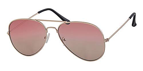 Flach verspiegelt Rosa zu Braun Objektiv, Gold Rahmen Aviator Sonnenbrille, mit gratis gelb Halskordel