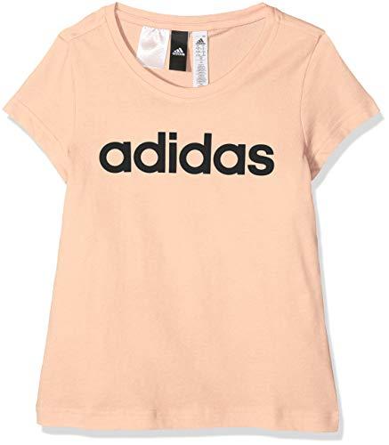 adidas Mädchen YG Linear Tee Hemd, orange/schwarz (Haze Coral), 116 (5/6 años)
