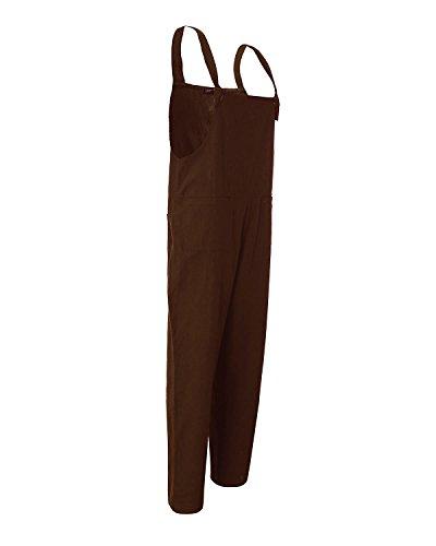 Zanzea Damen-Hose, retro, lose, leger, Baggy, ärmelloser Overall, langer Jumpsuit Coffee