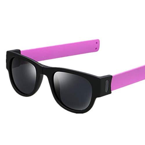 WZYMNTYJ Sonnenbrille Frauen Slappable Armband Sonnenbrille für Männer Armband Falten Shades Bunte Mode Spiegel UV400