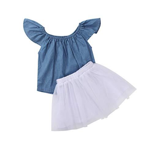 YWLINK MäDchen Kleidung Einfarbig Sommer RüSchen Kurze ÄRmel Tops + Mesh Rock Bequem Set Outfits(Blau,120)