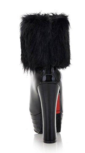 best website e4f7f 2bffa YE Damen Winter Warme High Heels Plateau Lack Stiefeletten ...