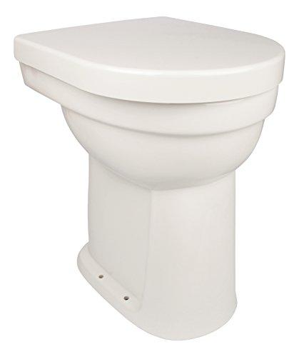 'aquaSu® Stand-WC-Set liDano +10 cm   Erhöhtes WC   Weiß   Inklusive WC-Sitz   Für Senioren und große Menschen   Flachspüler   Abgang innen senkrecht   Hoch   Komfort   Keramik   Badezimmer   Gäste-WC