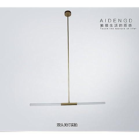 Die moderne, An der Rezeption minimalistische Cafe bar del Hotel des Kronleuchter kreative Persönlichkeit im-Art déco Rundrohr Kronleuchter , 1 de doble cabeza / Cristal