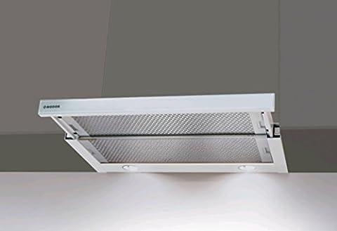 Flachschirmhaube Nodor 60cm mit Weißglas Blende/Einbau Dunstabzugshaube mit starkem Motor 650m³/h/ ECO LED Beleuchtung/Abzugshaube/Einbauhaube/Ablufthaube/Umlufthaube/