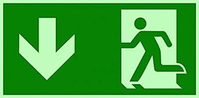 Fluchtweg Notausgang Schild ISO nachleuchtend & selbstklebend 300x150 mm