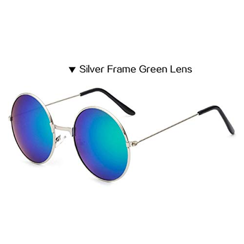 DYFDHA Sonnenbrillen Vintage Round Sunglasses For Women Men Brand Designer Mirrored Glasses Retro Female Male Sun Glasses Men's Women's Silver green