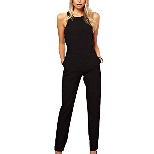 BAINASIQI Damen Elegant Romper Jumpsuit Ärmellos Rückenfrei O-Ausschnitt Schlankheits Overall (XL, Schwarz)