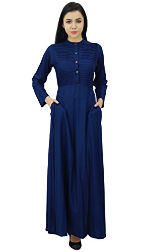 Bimba Damen Langarm Maxi Mandarin Kragen Glatt Jilbab Kleid Mit Taschen