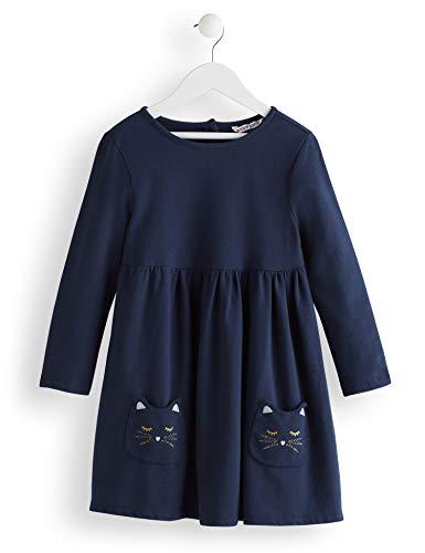 RED WAGON Mädchen Cat Pocket Kleid, Blau (Blue), 122 (Herstellergröße: 7)