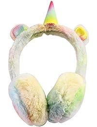 Kids Size,Gradient Color Girls Unicorn Earmuffs Kids Fluffy Rainbow Ear Warmers in Plush Cute Design,Girl Winter Warm Windproof Unicorn Earmuffs