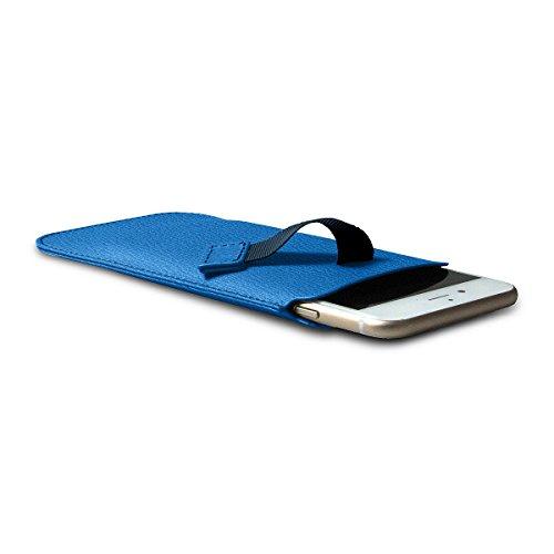 Lucrin - Etui mit Zunge für das iPhone 8/7/6 - Mausgrau - Ziegenleder Azurblau