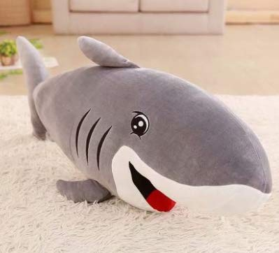 XXCKA Cute Big Shark Plush Toy Great White Shark Doll Sleeping Pillow Children Doll Doll Birthday Gift Female 70Cm 1Pcs Gray
