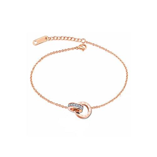Emma gioielli - bracciale donna cavigliera in acciaio stainless steel pl. oro rosa di alta qualita' con charm anelli cerchi intrecciati cristalli swarovski elements numeri romani - confezione regalo