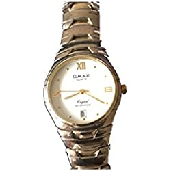 Omax Mens Wrist Watch Gold Silver Stainless Steel Strap Analog Dail and Date