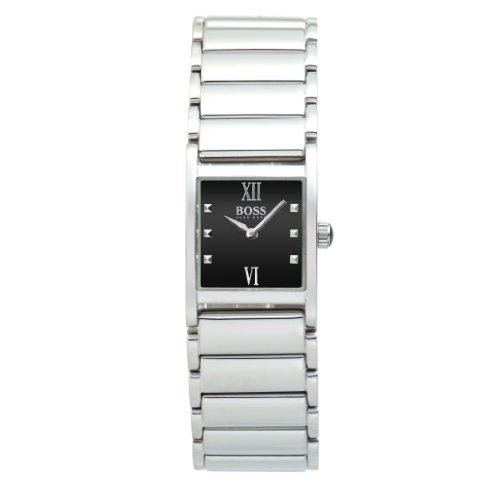 Hugo Boss Ladies Quartz Watch with Black Dial Analogue Display and Silver Stainless Steel Strap 1502210