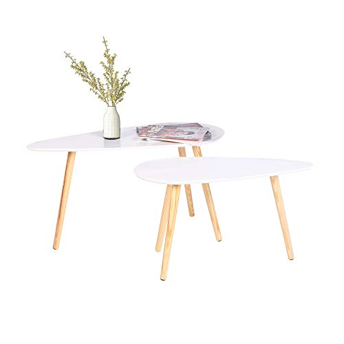 2 x Blanco madera mesa café sala estar mesa juego
