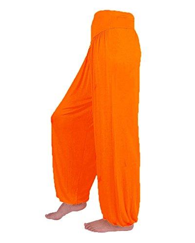 Donna Harem Pantaloni Baggy Pump Aladin Lunghi Pantaloni Yoga Jogging Sportivi Orange