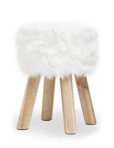 Suhu Fell Hocker Pouf Hocker Sitzhocker Sofa Puff Hocker Kleiner Fußbank Rund aus Massivholz Weiß -