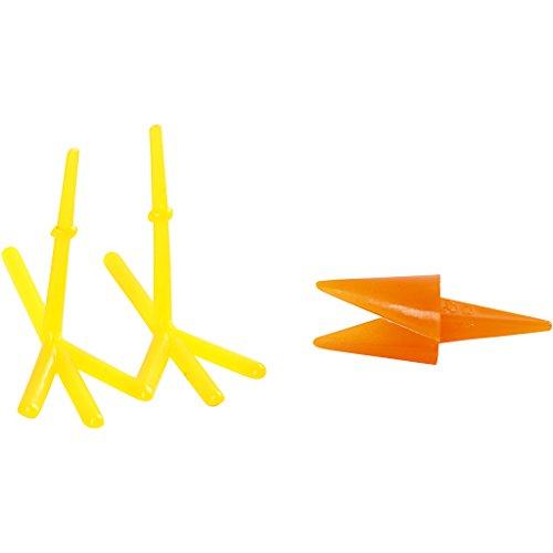 Hühner-Schnabel und Hühner-Füße, L: 30+37 mm, H: 28 mm, Gelb, orange, 8Sets