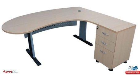 Schreibtisch Büroschreibtisch Schreibtisch Computertisch Chefschreibtisch Winkelschreibtisch inkl. Beistellcontainer