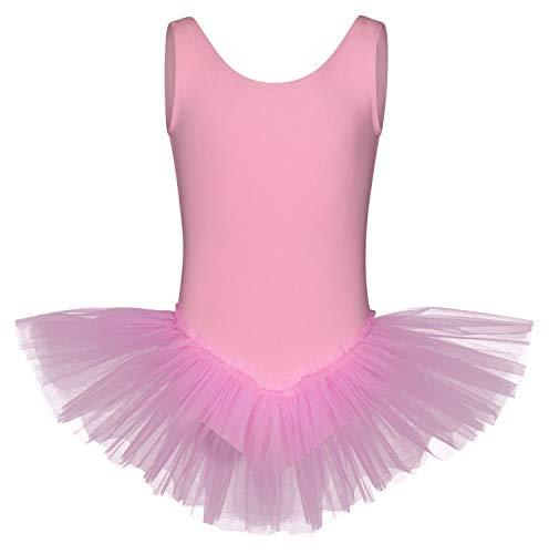tanzmuster Kinder Ballett Tutu Anabelle aus Baumwolle mit Breiten Trägern und Tüllrock in rosa, Größe:164/170 (Jersey Mädchen Kostüm)