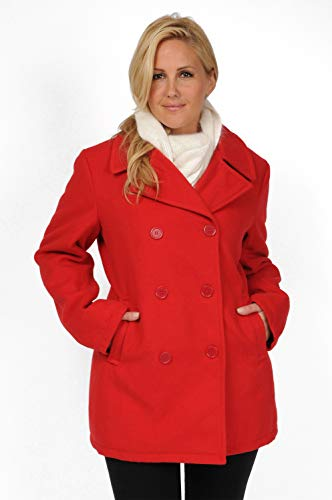Excelled Leather Damen Classic PEA Coat Caban-Jacke, rot, X-Groß