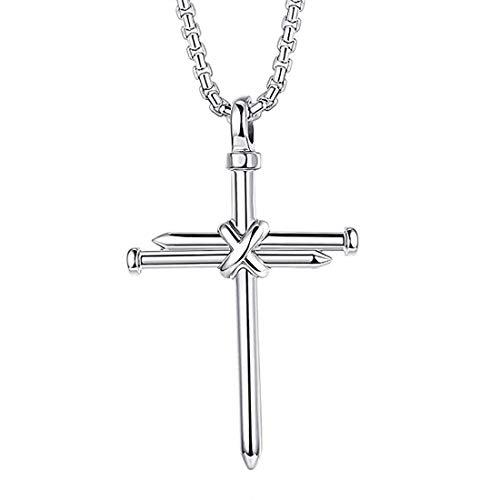 Anwin Schmuck Edelstahl Herren Kette mit Nagel Kreuz Anhänger Damen kreuzanhänger Halskette für Frauen Männer Farben: Silber Kreuzkette 60CM
