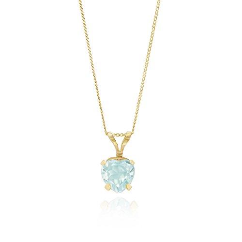 In oro giallo 9kt, topazio blu a forma di cuore gabbia ciondolo/16