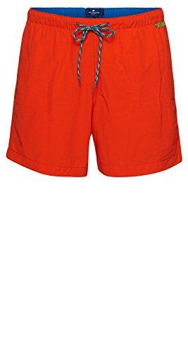 Tom Tailor für Männer Beachwear unifarbene Schwimm-Shorts fever red