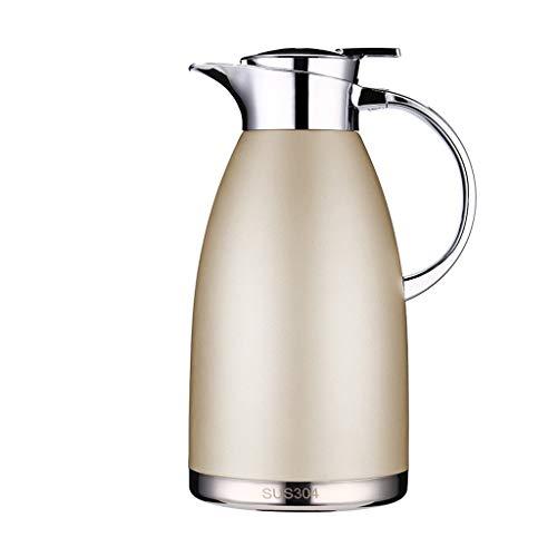 LRXG Thermoskannen,Vakuum-Reisebecher Edelstahl-Doppelwand-Vakuumisolierter Kaffeekolben, Saft/Milch/Tee Isolations-Topf 2300ML (Farbe : Beige) - Thermoskanne-leak-proof-reise-becher