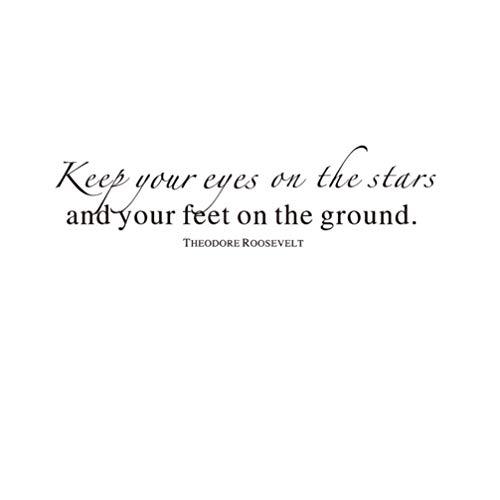 Adesivi murali sticker da muro inglese lettere inspirationalarredamento della camera da letto bagnokeep your eyes on the stars you will feet on the ground 57*15cm,22.44 inches x 5.9 inches