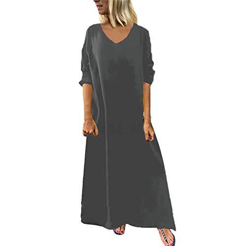 Fenverk Maxikleid Damen äRmellos Sommerkleider Elegant Blumen Lang Kleid Strandkleid Langes Elegantes Strandkleider Strandponcho Lose Maxi Kimono Kaftan Tunika Lange Mode Dress(Grau,XL)