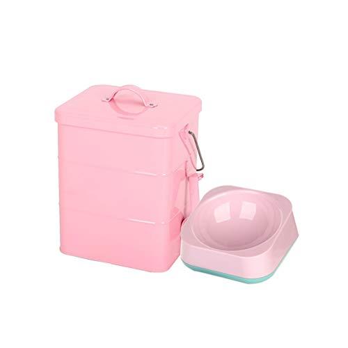 Pet Food Bin mit Pet Bowl Tierfutter-Behälter Pet Food Storage-Dose Lagerplätze Food Storage Container 1 Tasse gemessen Scoop (Farbe : Pink, größe : 5L Square barrel) -