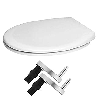 Toilet Seat Cover White One Seat Soft Close\ Quick-Release for Easy Cleaning\ Plastic Material\ Durable Toilet Seat\ Easy Top Fix \ Size:450mmX370mm by AAN®