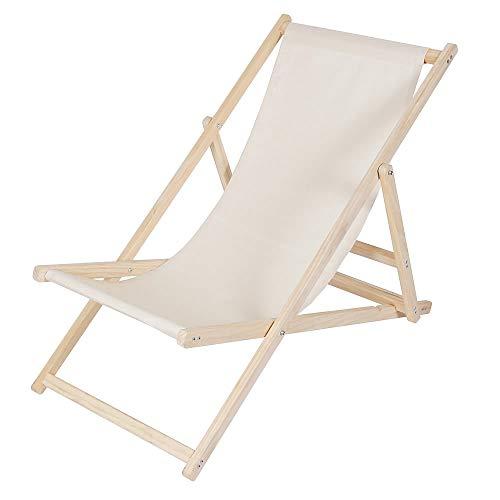 Melko Strandliege Liegestuhl Gartenliege Sonnenliege Faltliege Strandstuhl aus Holz ohne Armlehne, Beige
